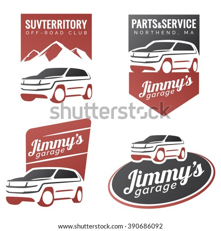 Set of crossover suv car labels, emblems, badges or logos isolated on white background. Off-road suv adventure emblems, car club design elements. Isolated modern suv front and side view. - stock vector