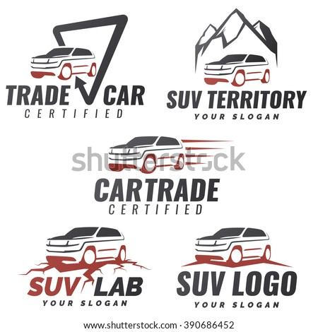 Set of crossover SUV car service logo templates. Automotive repair and service theme concept. Rental Car Logo Template Vector. Isolated modern suv front and side view. Off-road vehicle illustration. - stock vector