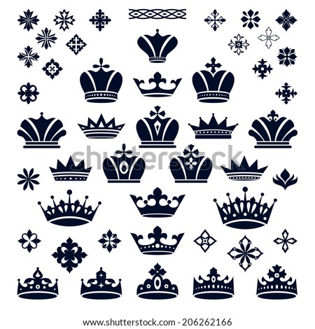 set of crowns and decorative elements vector illustration - stock vector