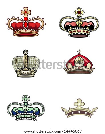 set of crowns vector - stock vector
