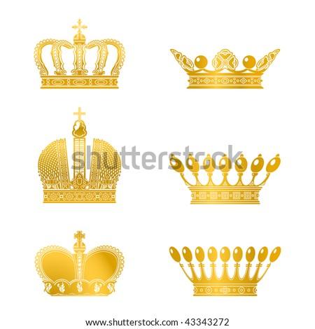Set of Crowns, vector - stock vector