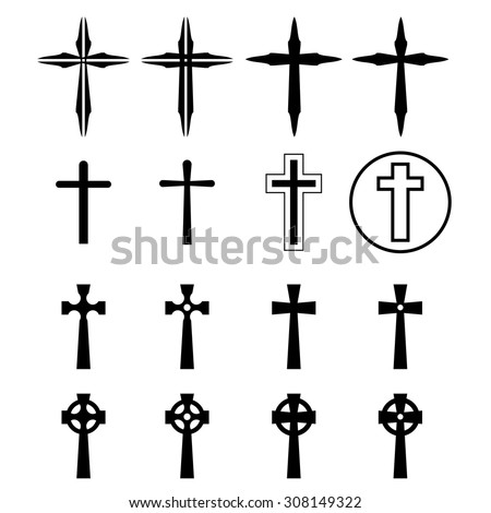 Set of crucifix and cross silhouette in modern style. vector illustration. - stock vector