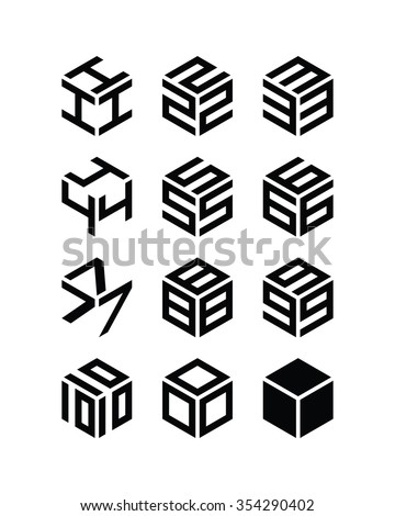Set of cubic numbers. Vector. - stock vector