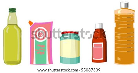 set of culinary sauces and oils - stock vector