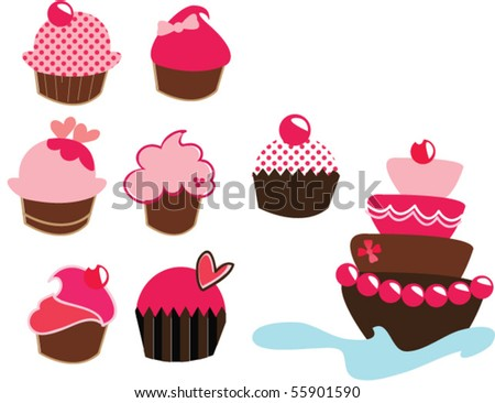 set of cup cakes - stock vector