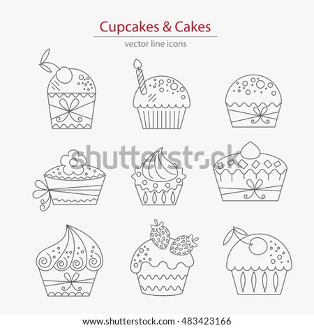 Set of cupcakes and cakes icons  made in modern line style vector. Isolated on white. Logos set