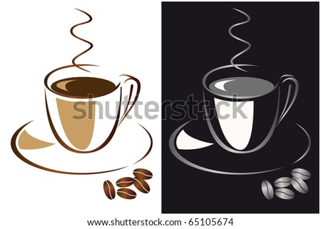 Set of cups of black coffee. Vector illustration - stock vector