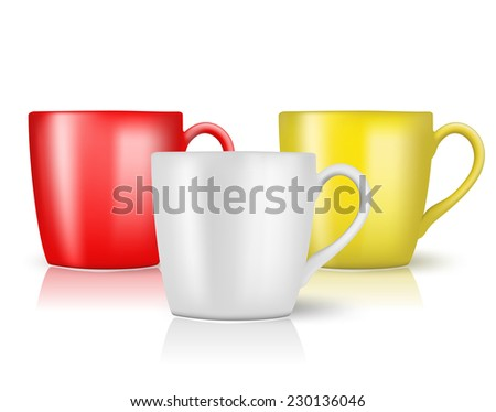 set of cups on white - stock vector
