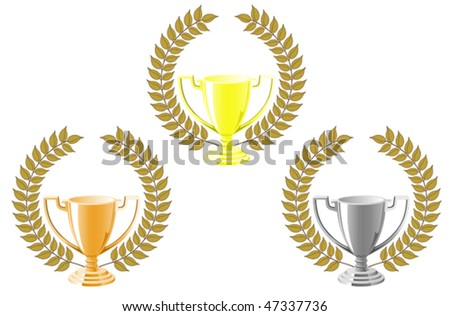 Set of cups with laurel wreath for sport design. Jpeg version is also available - stock vector