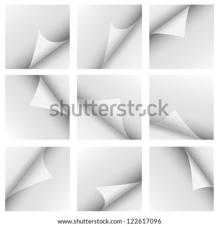 Set of curled corners isolated on white - stock vector