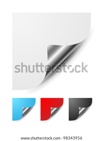 set of curled glossy page corners - stock vector