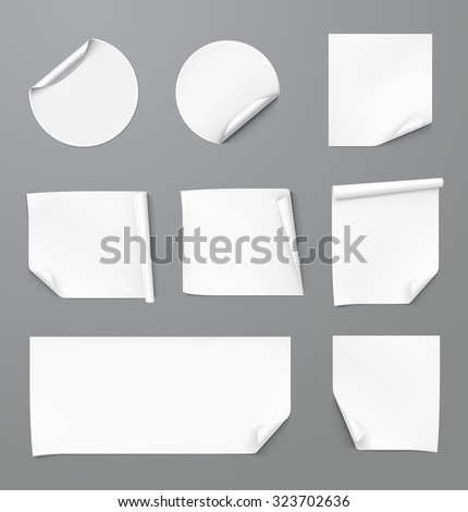 Set of curled stickers on grey background. Vector illustration - stock vector