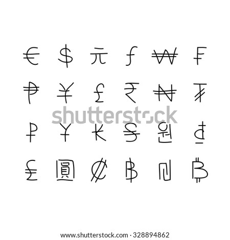 Set of currency symbols