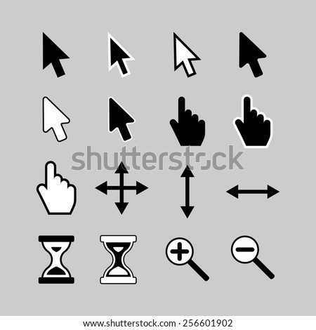 Set of cursor icons: arrow, hand, hourglass,magnifier. - stock vector