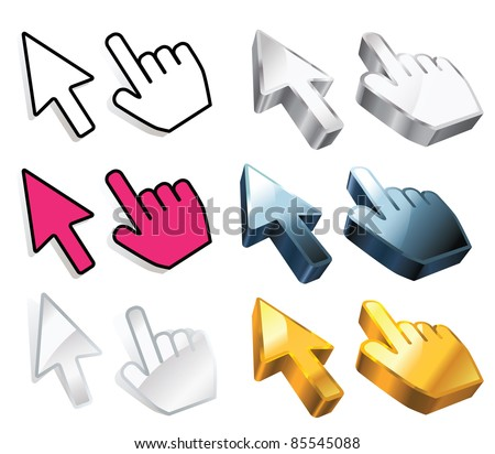 set of cursors with variations - stock vector