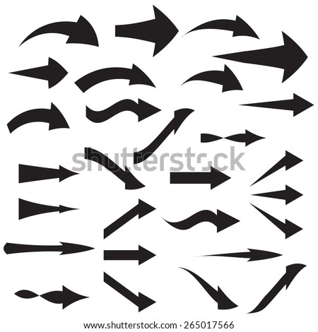 Set of curved arrow icons Vector illustration - stock vector
