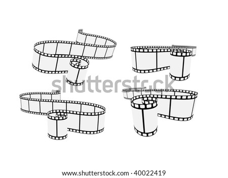 set of curved photographic film - stock vector