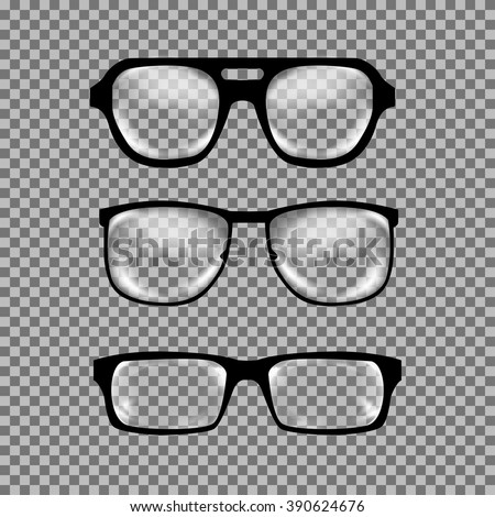 Set of custom glasses isolated. Vector illustration on white background. Glasses model icons, man, women frames. Sunglasses, eyeglasses isolated on white. silhouettes. Different shapes, frame, styles - stock vector