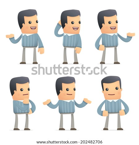 set of customer character in different interactive  poses - stock vector