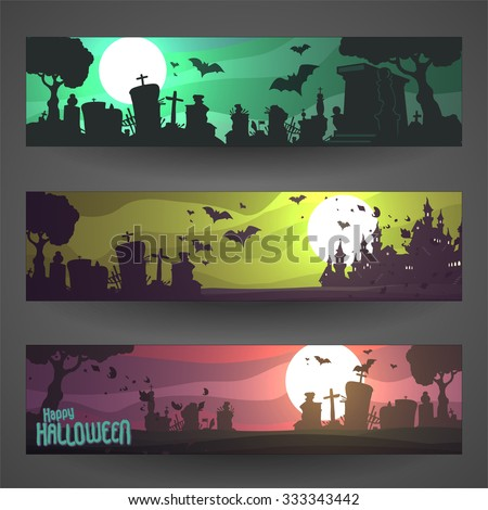 Set of customizable Halloween vector banners, cartoon backgrounds - stock vector