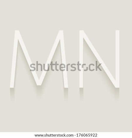Set of cut paper capital letters, M and N. Eps 10.  - stock vector