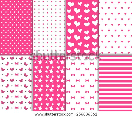 Set of cute abstract seamless big and small polka dot, lined textile and stars, hearts, bow, ribbon and stripes pattern in pink and white color. Vector art image illustration background, simple design - stock vector