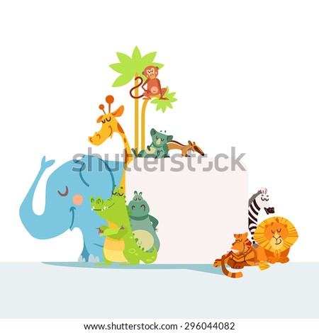 Set of cute african animals standing as a frame for your text. Design template for poster or banner. Zoo animals with signboard isolated on white background. Vector illustration - stock vector