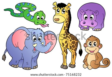 Set of cute African animals - vector illustration. - stock vector