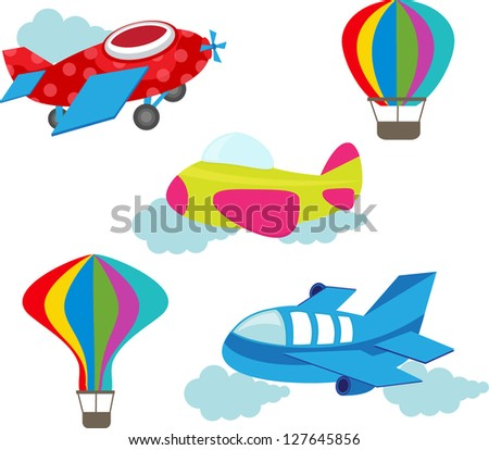 set of cute air transport - stock vector