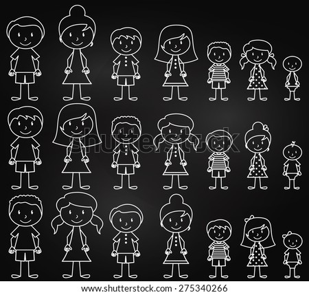 Set of Cute and Diverse Chalkboard Stick People in Vector Format - stock vector