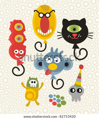 Set of cute and funny monsters. Vector party illustration. - stock vector
