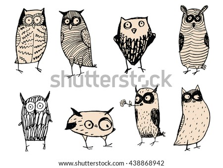 Set of cute and funny owls. Unusual original characters. Wild predatory night birds. Vector illustrations for child books, internet sites about wildlife and nature. Decorations.  Wise, weird creations - stock vector