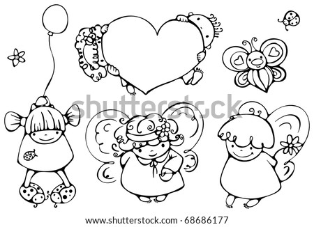 Set of cute angels for design - stock vector