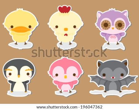 Set of cute animal babies sticker - stock vector