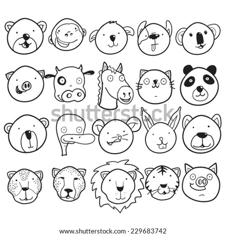 Set of cute animal faces - stock vector