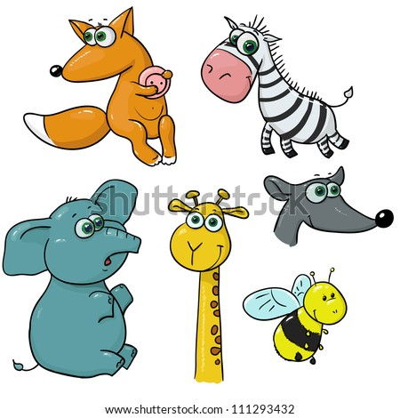 set of cute animals - stock vector