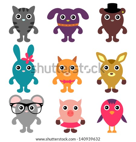 Set of cute animals - stock vector