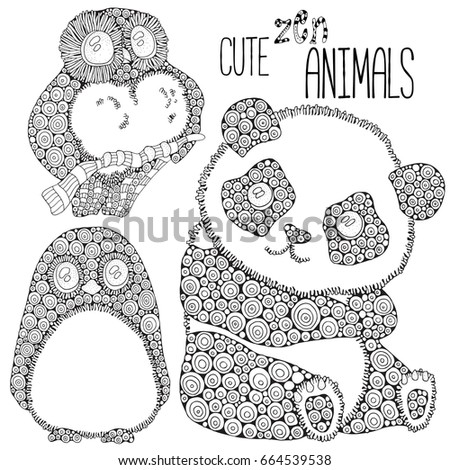 Set Of Cute Animals Panda Penguin Owl Adult Antistress Coloring Book Page