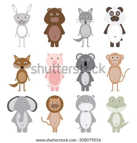 Set of 12 cute animals. Vector illustration for children's books, posters, postcards and other design