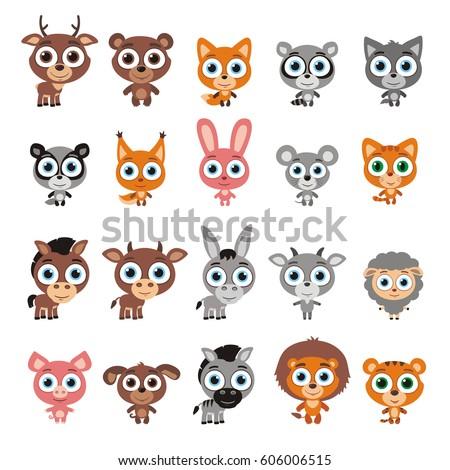set cute animals big eyes cartoon stock photo photo vector rh shutterstock com Big Eyed Animal Coloring Animals Big Eyed Baby