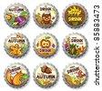 Set of cute autumnal bottlecaps  2 - stock vector