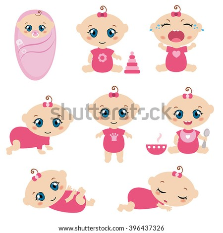 Set of cute baby girls. 0-12 months. Various poses. First year activities.
