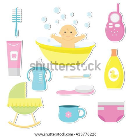 Set of cute baby toy stickers. Design elements for baby shower card, scrapbook, invitation, baby goods.Stickers collection. - stock vector