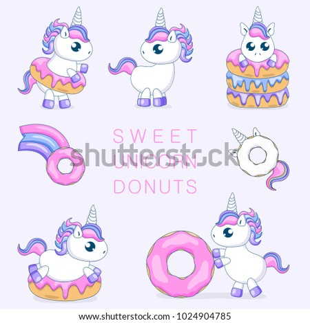 Set Of Cute Baby Unicorns Playing With DonutsVector Illustration