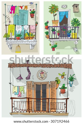 Balcony plants stock vectors images vector art for Balcony cartoon