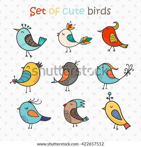 Set of 9 cute birds in vector. Colorful birds doodle collection. - stock vector