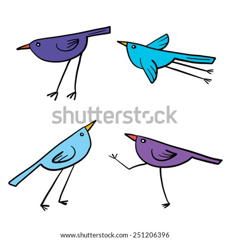 Set of 4 cute birds isolated in white in vector. Cartoon colorful funny little birds. - stock vector