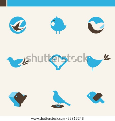 Set of cute blue birds. Icons set. - stock vector