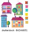 Set of cute bright houses cartoons - stock vector