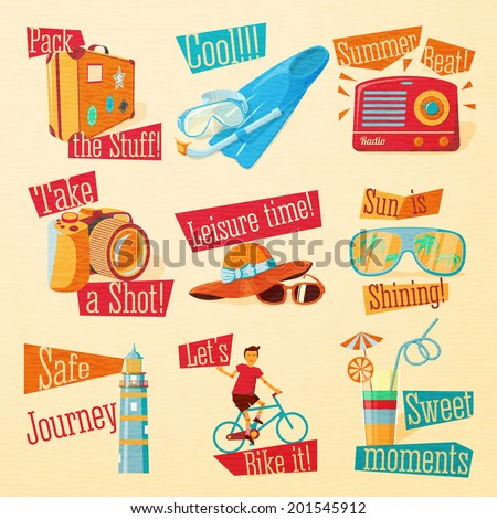 Set of cute bright summer icons with typographic elements. Suitcase, flippers, swimming mask, radio, photo camera, hat, sunglasses, beacon, bike, cocktail . Vector. - stock vector